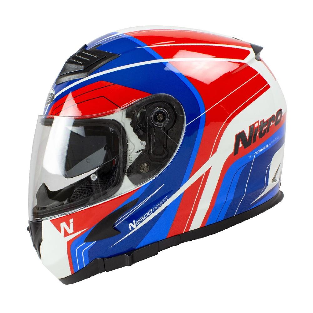Nitro Prilba N2300 int. biela/modrá/červená lesklá DVS