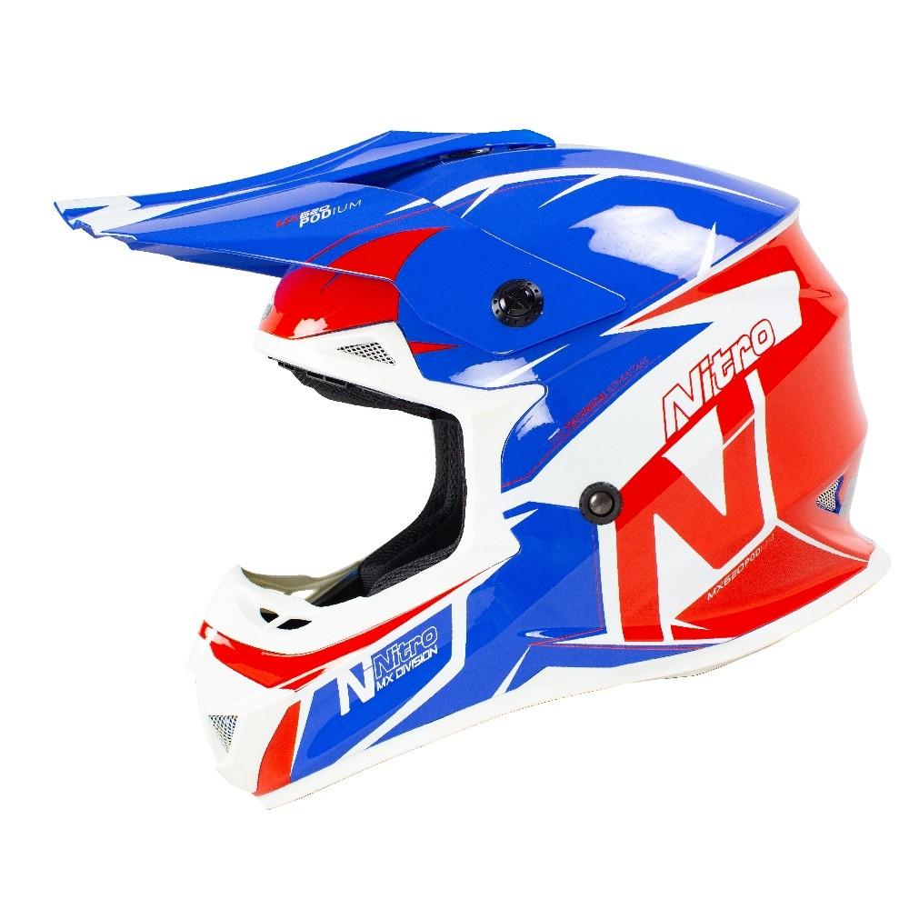 Nitro Prilba MX620 biela/modrá/červená lesklá MX
